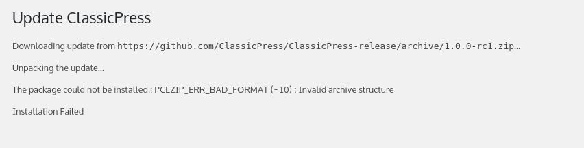 Update failed - PCLZIP error - Version 1 x - ClassicPress Forums